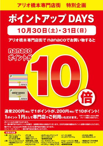 アリオ橋本専門店街 ポイントアップDAYS nanacoポイント10倍